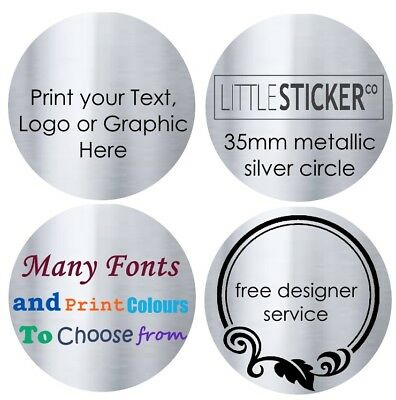 Address Labels Thank you business stickers personalised silver circles x100