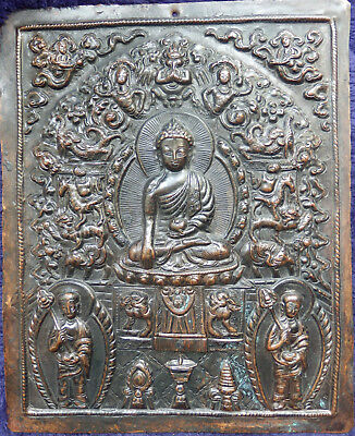 An Islamic/Asian antique copper plaque with fabulous detail.