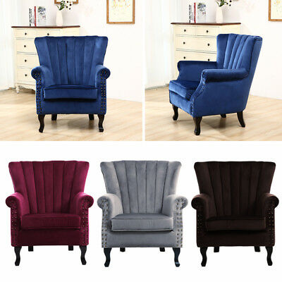 Wing Backed Armchair Accent Upholstered Chair Living Bedroom Lounge Retro Fabric
