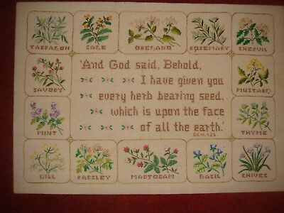 Unusual large old sampler with flowers and verse
