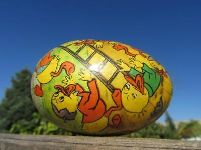 1960's Circa Chocolate Easter Egg Cardboard & Paper Shell with Band of Ducks &