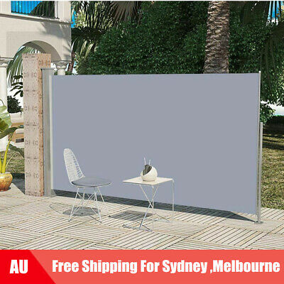 Patio Retractable Side Awning 180x300cm Grey Outdoor Terrace Sunshade AU