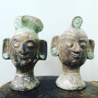 Very Old Antique Chinese Ceramic Clay Decorative Heads Antiquity