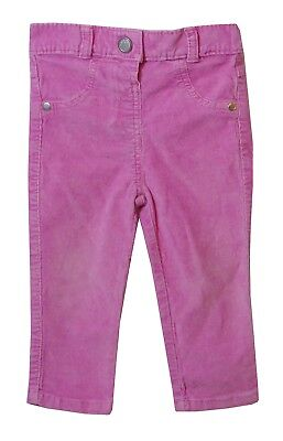 Baby Girls George Pink Cords Elasticated Waist Stretch Trousers Age 12-18 Months