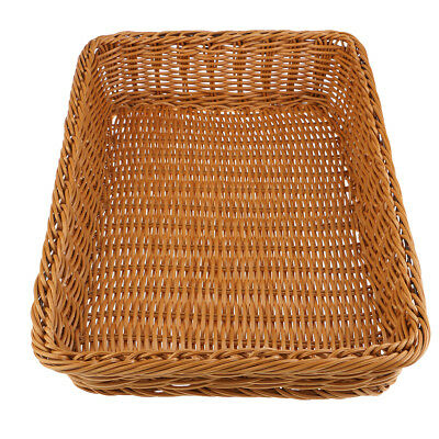 Trapezoid Rattan Bread Basket Food Fruits Weaving Storage Handimade Basket