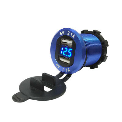 Waterproof 4.2A Dual USB Charger Power Outlet LED Voltmeter for Car Motorcycles