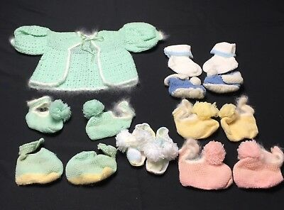 Vtg 40s 50s Lot Hand Knit Infant Baby Sweater & Booties Pink Green With Pom-Poms