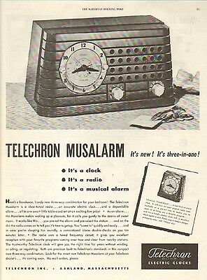 1946 Telechron Electric Clocks. Musalarm. Its New. Three in One. Vintage Ad