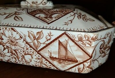 Antique Staffordshire Aesthetic Brown Transferware Covered Entree Tureen 19th C