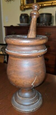Antique American Morter & Pestle Turned Wood Kitchen Apothecary