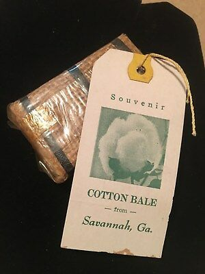 Vintage Cotton Bale Souvenir from Savannah, Ga with Original Tag for Mailing