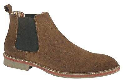 Roamers Shoes Suede Chelsea Gusset Boots M611BS - Sand