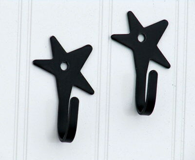 Amish forged black wrought iron solid star hooks with mounting hardware - set 2