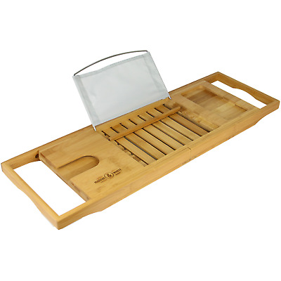 Extendable Bamboo Bath Caddy | Adjustable Home Spa Wooden Bath Tray | M&W