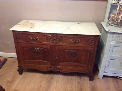 Vintage Antique French Louis Style Sideboard Marble Top