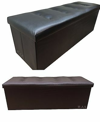 Large 3-Seater Ottoman Storage Toy Box/Window Bench Seat Faux Leather