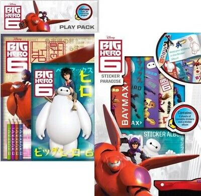 3 PACK Big Hero 6 Sticker Pad Paradise Play Pack Colouring Book NEW Activity