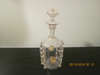 Antique Crystal Decanter French St. Louis with some gold enamel