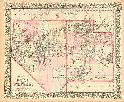 1874 Antique Map - Usa - Utah And Nevada