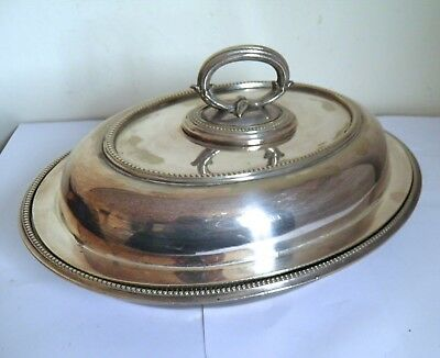 Antique Silver Plated Oval Lidded Serving Entree Dish James Dixon Sheffield