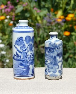 Two Chinese Blue and White Porcelain Snuff Bottles, Qing Dynasty and Later