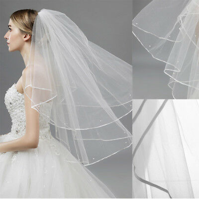 White Ivory Bridal Wedding Veil Beaded Satin Edge Elbow Veil With Comb 2Style