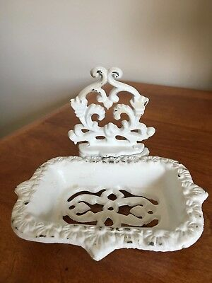 Vintage White Distressed Look Cast Iron Soap Dish
