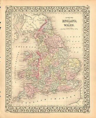 1874 Antique Map - England And Wales