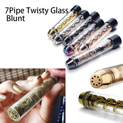7 PIPE Dry Herb Pipe Twisty Glass Tube Blunt Grinder Filter Herbal Aromatherapy
