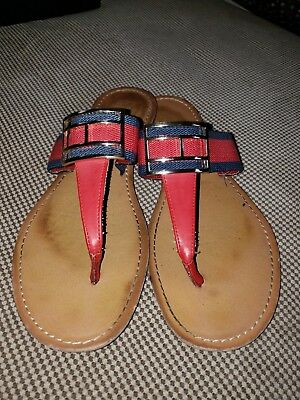 Tommy Hilfiger Vegan Flip Flops Navy Red Sz 7.5M Women s Sandals Shoes   ... a82f45919