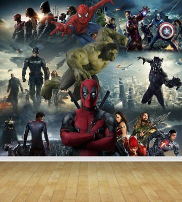 Avengers Super Hero Heroes Wall Art Wall Mural Self Adhesive Vinyl Wallpaper V2*