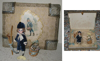 Antique Mignonette All Bisque Doll in Presentation Box