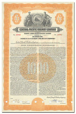 Central Pacific Railway Company Bond Certificate