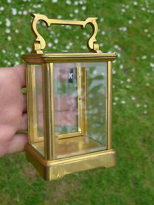 k) Good French Antique 8day mantel carriage clock GILDED GLAZED CASE WITH HANDLE