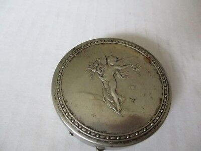 "Antique EMBOSSED Round 2""Case Mirror ART NOUVEAU Naked Woman Wings Flowers RARE!"
