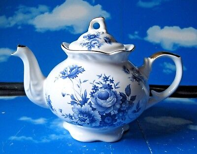 VINTAGE ARTHUR WOOD & SON BLUE AND WHITE TEAPOT with FLORAL DESIGN
