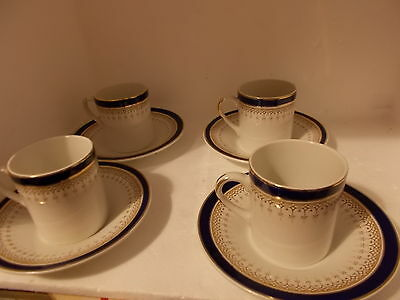 Simpson Potteries Ltd Chinastyle coffee cans / cups & saucers x 4 (binbrook)