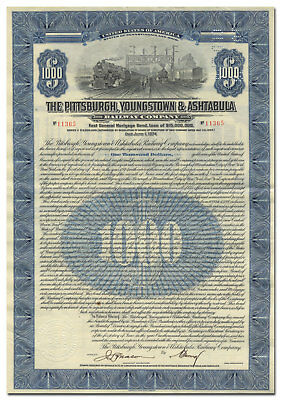 Pittsburgh, Youngstown and Ashtabula Railway Company Bond Certificate