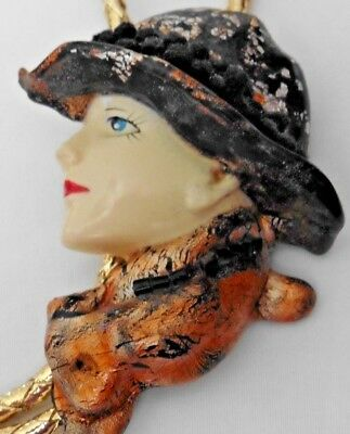 Women's Accessory Bolo Tie Hand Painted Lady in Hat Black & Copper
