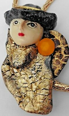 Women's Accessory Bolo Tie Hand Painted Lady in Hat Orange on Right