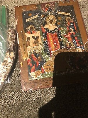 Russian orthodox icon 18th c. Mother of god joy of all who sorrow 1888 painting
