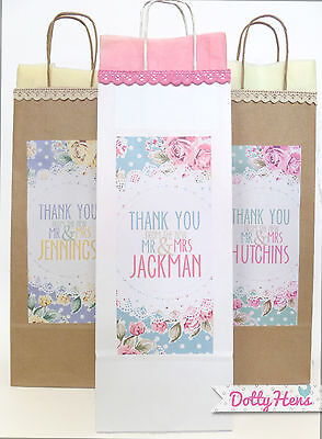 Personalised Wine Bottle Gift Bags - Vintage Floral Lace- Wedding Birthday Hen