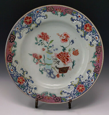 ca 18th Century Chinese Export Plate Famille Rose Turquoise Vase & Red Flowers
