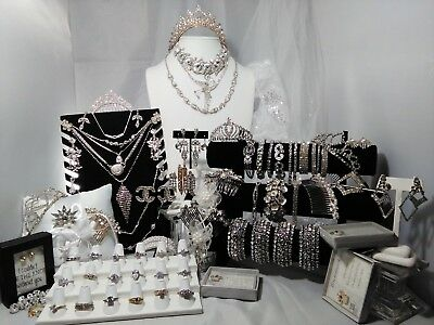 Huge 81 Piece Vintage To Now Clear Rhinestone Wedding Jewelry Accessory Lot