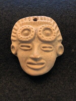 Vintage/Used Aztec/Inca/Maya Pre-Columbian Style Fired Clay Terracotta Pendant