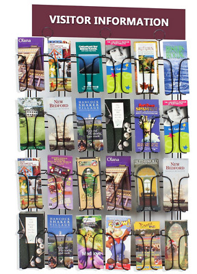 4 Tier 24 Pocket 4x9 Pamphlet Brochure Literature Storage Wall Display Rack
