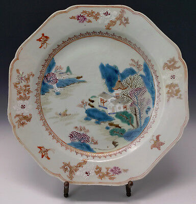 Antique Chinese Export Plate Famille Rose Fishing Village & Boat w/ Butterflies