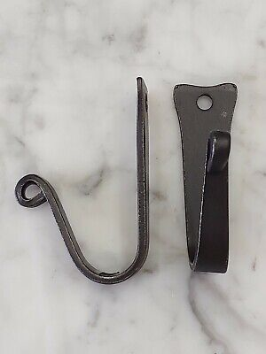 Amish forged black wrought iron J hooks with mounting hardware - set 2 - Strong!