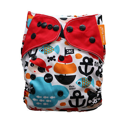 New Pirates at Sea Pocket One-Size Cloth Diaper Happy Flute w/ Snaps USA Seller