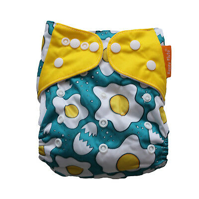 New Breakfast Eggs Pocket One-Size Cloth Diaper Happy Flute w/ Snaps USA Seller